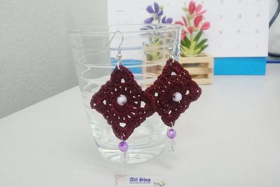 SUPER SALE /Dark Brown Crochet Earrings /Bead earrings by AfifShop