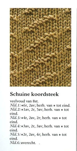 Schuine koordsteek 001 - Breisteken Breisteken Pinterest Knitting stitc...