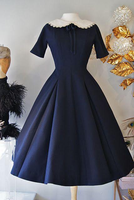 wool circle skirt dress with Peter Pan collar by Lanz #vintage #navy #fashion $198.00