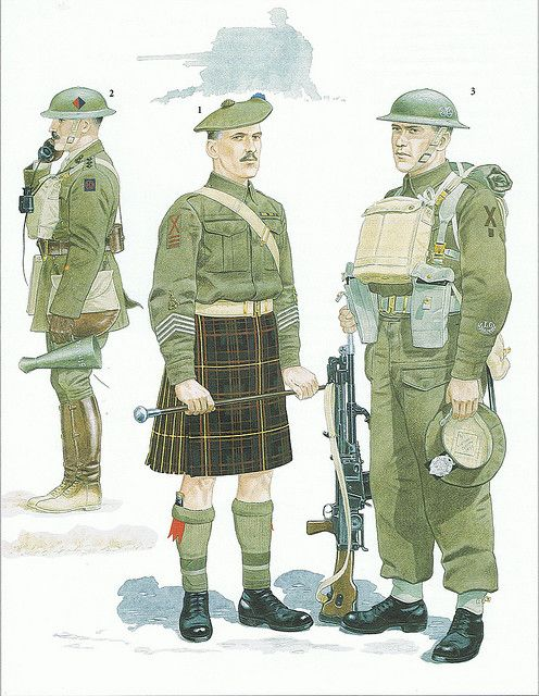 51st (Highland) Division 1939/1940    1: Drum Major, 4th Camerons, 1940  2: Captain, Royal Artillery, 1939  3: 8th Argylls,1940