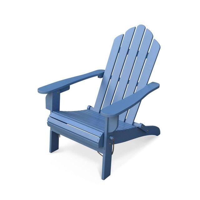 Fauteuil De Jardin En Bois Adirondack Salamanca Bleu Grise