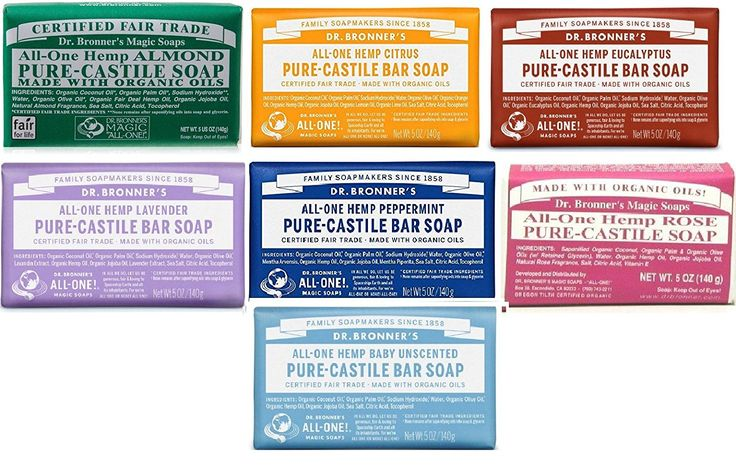 Dr. Bronner's Pure Castile Bar Soap, 7 Variety Pack, 5 oz (7 Pack) -- Find out more about the great product at the image link. (This is an Amazon Affiliate link and I receive a commission for the sales)