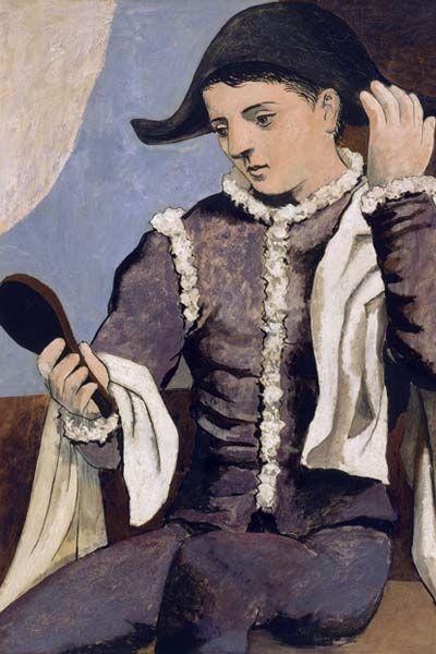 Pablo Ruiz Picasso. « Arlequin au miroir ».