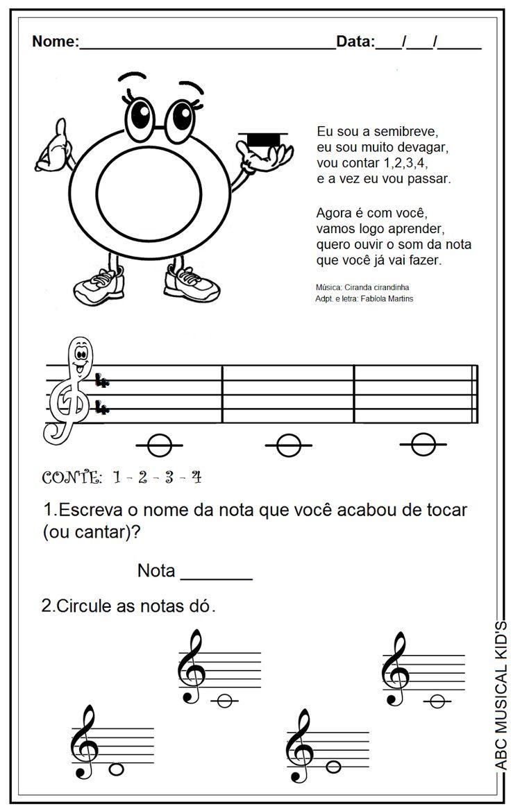 ATIVIDADES DE EDUCAÇÃO INFANTIL  E MUSICALIZAÇÃO INFANTIL: Musicalização - nota dó - semibreve                                                                                                                                                                                 Mais