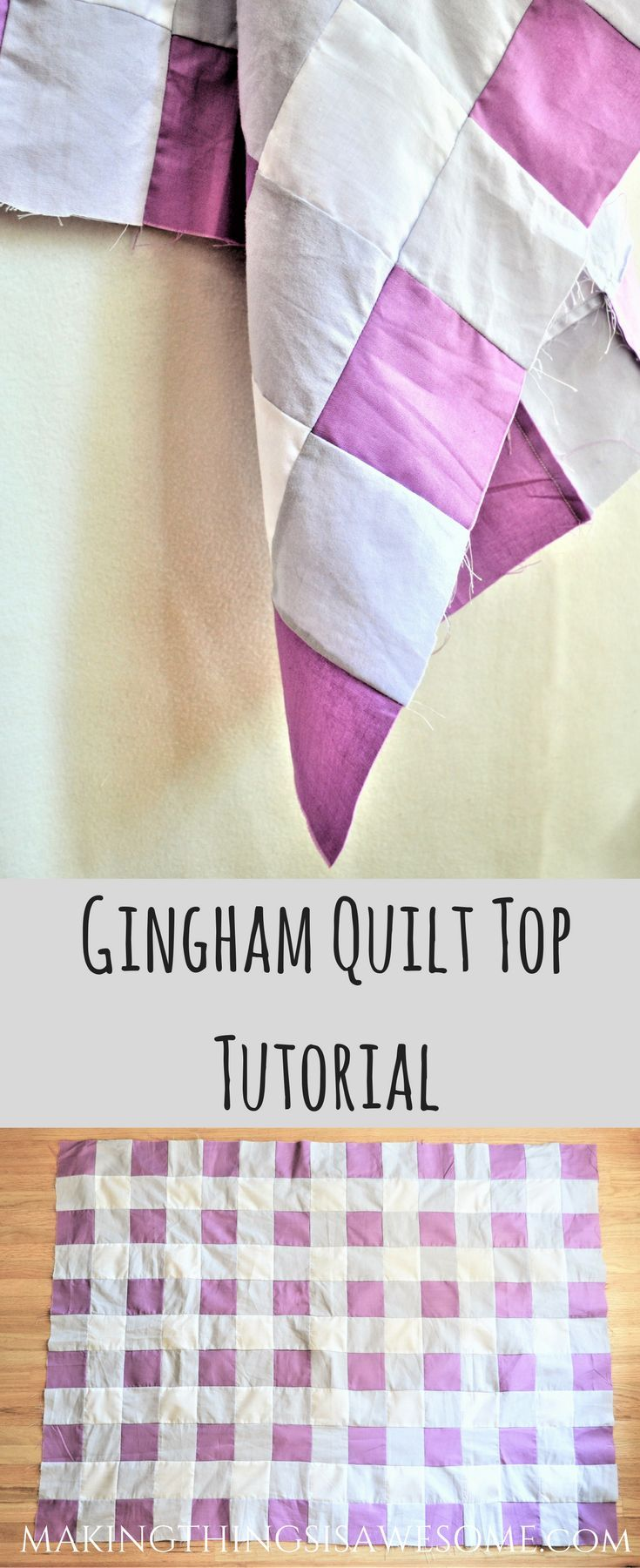 Gingham quilt top tutorial