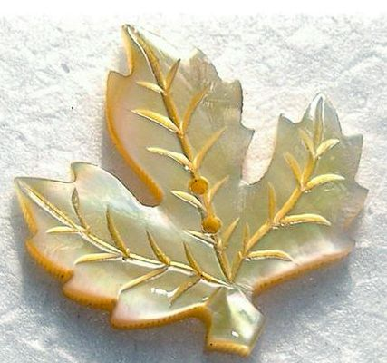 Maple Leaf Carved MOP Button