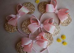 Fancy Gold and Pink Minnie Mouse Ears Girls Minnie Ears