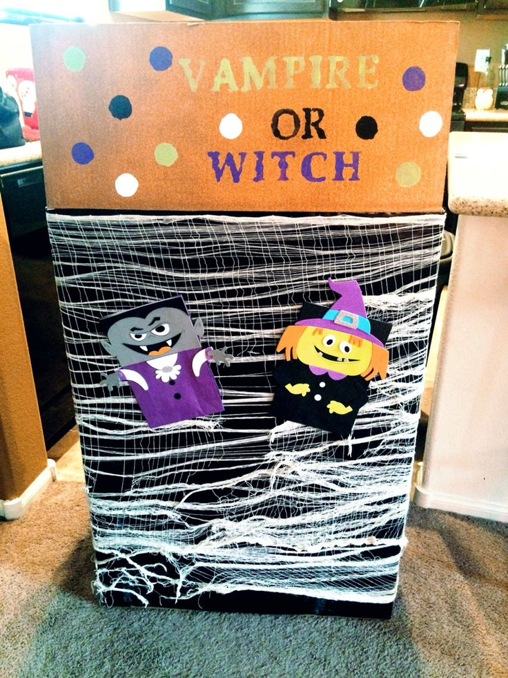 Halloween gender reveal balloon box. Vampire or witch? More