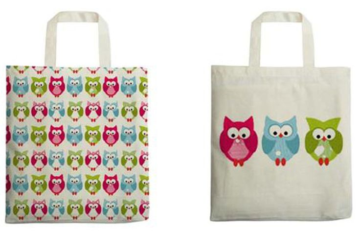 Printed Owl Shoppers - set of 2 - Traidcraft - A set of two lovely fair trade tote bags that are great for taking to the supermarket so you don't get caught out by the 5p plastic bag charge. #MinimisePlastic #RecycleReuse #FairTrade