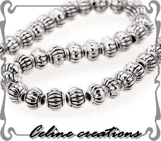 Lot 20 perles forme citrouille métal argenté - taille 4,5 x 3,5 mm : Perles en Métal par celinecreation