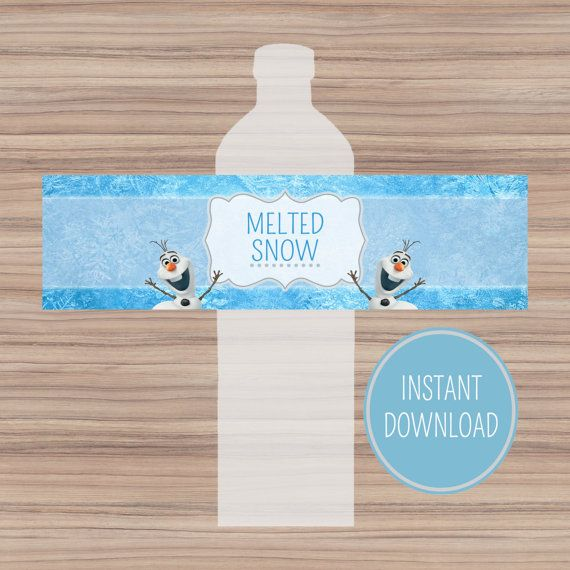 Disney Frozen Bottle Labels - Instant Download - Melted Snow Frozen Water Bottle Labels - Frozen Party