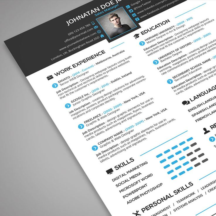 CV Resume clean and modern PSD Template for download - web designer job description