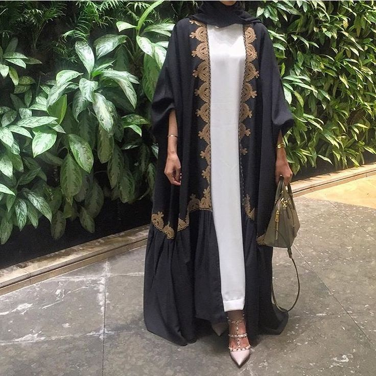 Pinterest: @eighthhorcruxx. White abaya. Black open abaya with gold detailing on top. Studded valentinos