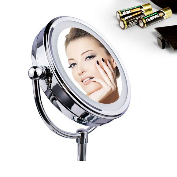 Led Cosmetic Mirror with Light  Stainless Steel Makeup Mirror with Light Table Stand Mirror