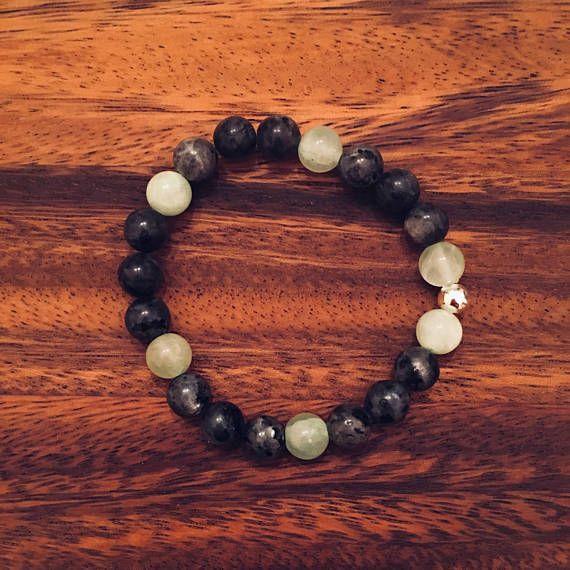 Labradorite & Jade Beaded Bracelet / Semiprecious Gemstones /