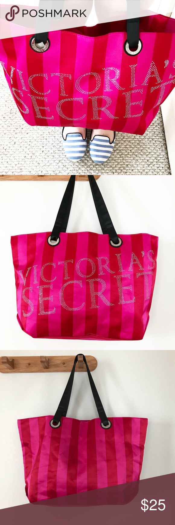 "VS Red Pink Stripe Bling Weekender Bag Tote Victoria's Secret 2011 limited edition Black Friday Supermodel Tote. Red and pink striped weekender bag / tote satin bag. Rhinestone embellished Stud bling sparkly logo on front.  • Approx measurements: L 19"" x H 13"" x D 5.5"" Strap Drop: 9.5"" • Excellent condition — some missing rhinestones in the V and the ET Victoria's Secret Bags Totes"