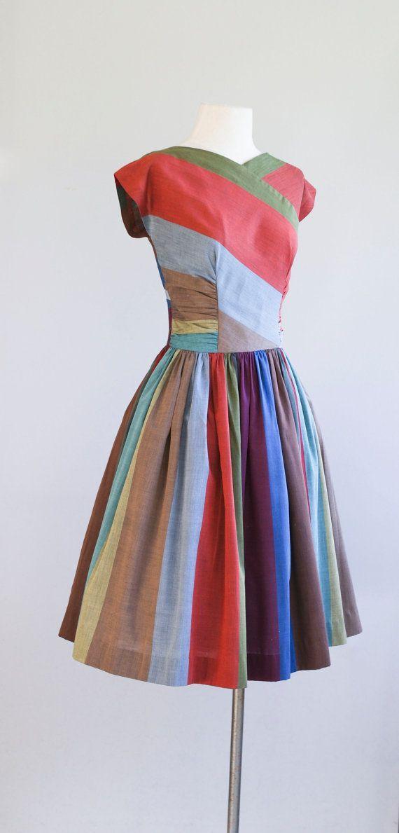 Vintage 1950's striped party dress
