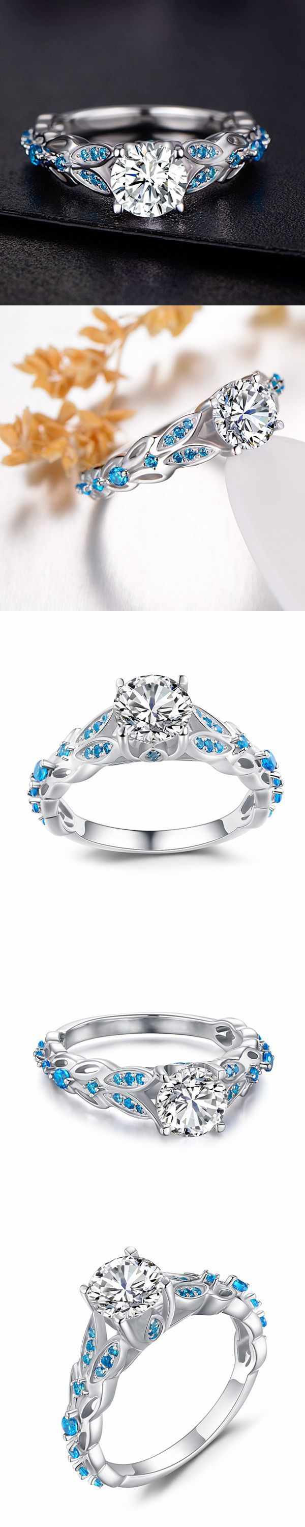 Lajerrio Jewelry Round Cut White Sapphire and Aquamarine Sterling Silver Engagement Ring