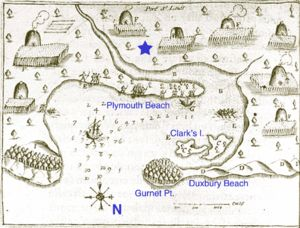 Samuel de Champlain's 1605 map of Plymouth Harbor, showing Wampanoag village Patuxet, with some modern place names added for reference.  The star i the approximate location of the 1620 English settlement.