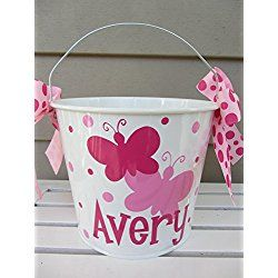 Personalized 5 quart Easter Bucket pail- butterfly design - Easter basket