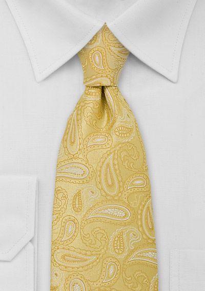 Mens Yellow Paisley Tie