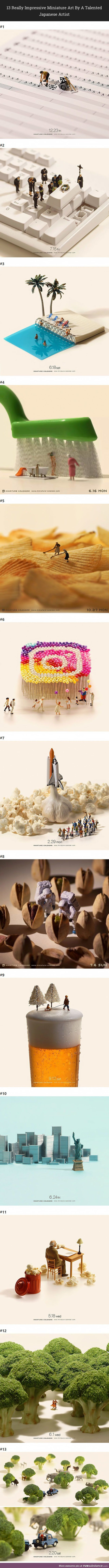 Japanese photographer, Tatsuya Tanaka, explores life in miniature with these meticulous images.
