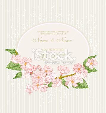 Wedding invitation with flowers. Cherry blossom. Royalty Free Stock Vector Art Illustration