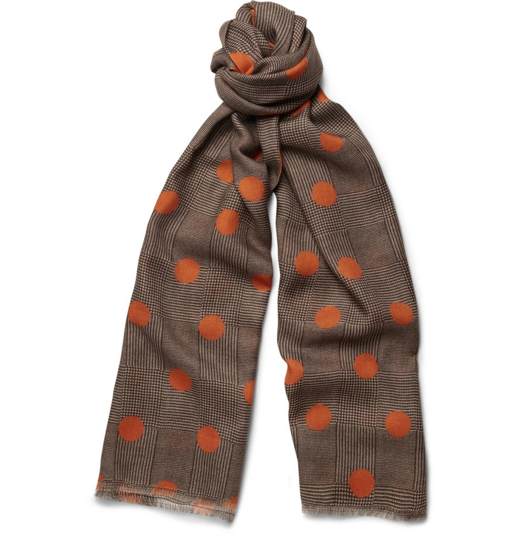 Richard James Polka-Dot Houndstooth Cashmere-Blend Scarf | MR PORTER