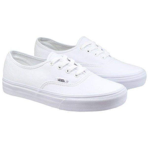 Vans Trainers Womens Authentic White ($66) ❤ liked on Polyvore featuring shoes, sneakers, white shoes, vans trainers, vans footwear, white sneakers and vans shoes