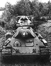 The Soviet T-34 medium tank.  FIrst produced in 1940, it was still in use by 27 countries in 1996.  It was the main tank for the Red Army in WWII.