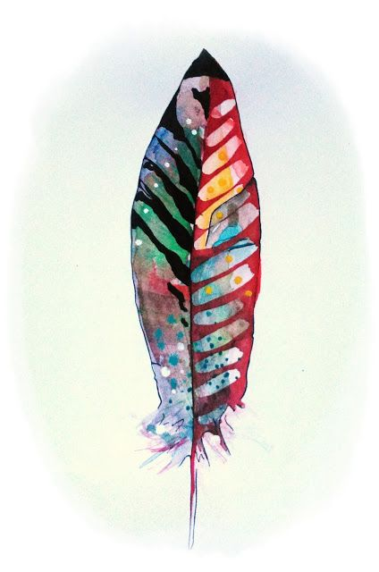 love.crazy.art.recycling.: Malen mit Wasserfarben - Watercolor Feather Painti...