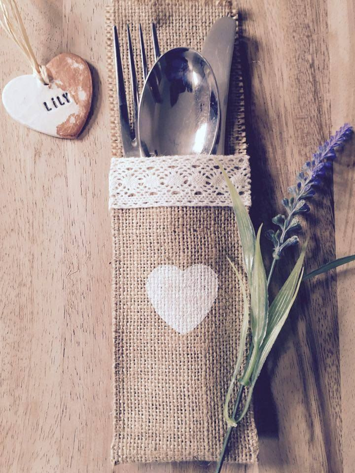 Set of 10 Wedding hessian/burlap cutlery holders/pockets/pouches by ElizabethRoseCrafts on Etsy