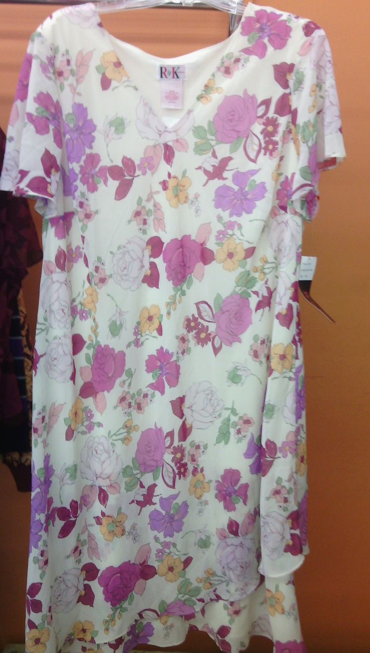 NWT White Dress With Pink and Purple Flowers, by R Size ...