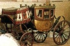 """Berlina, chiamata """"La Cybèle"""" utilizzata per il trasporto degli invitati il giorno del matrimonio con Maria Luisa , custodita nel museo del cavallo a Chantilly."""