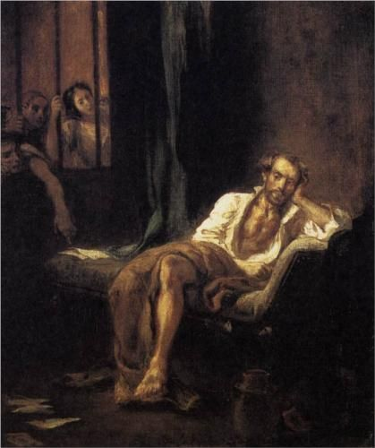 """Tasso in the Hospital of St Anna at Ferrara"""" by Eugène Delacroix. Tasso spent 1579–1586 in the madhouse of St Anne."""