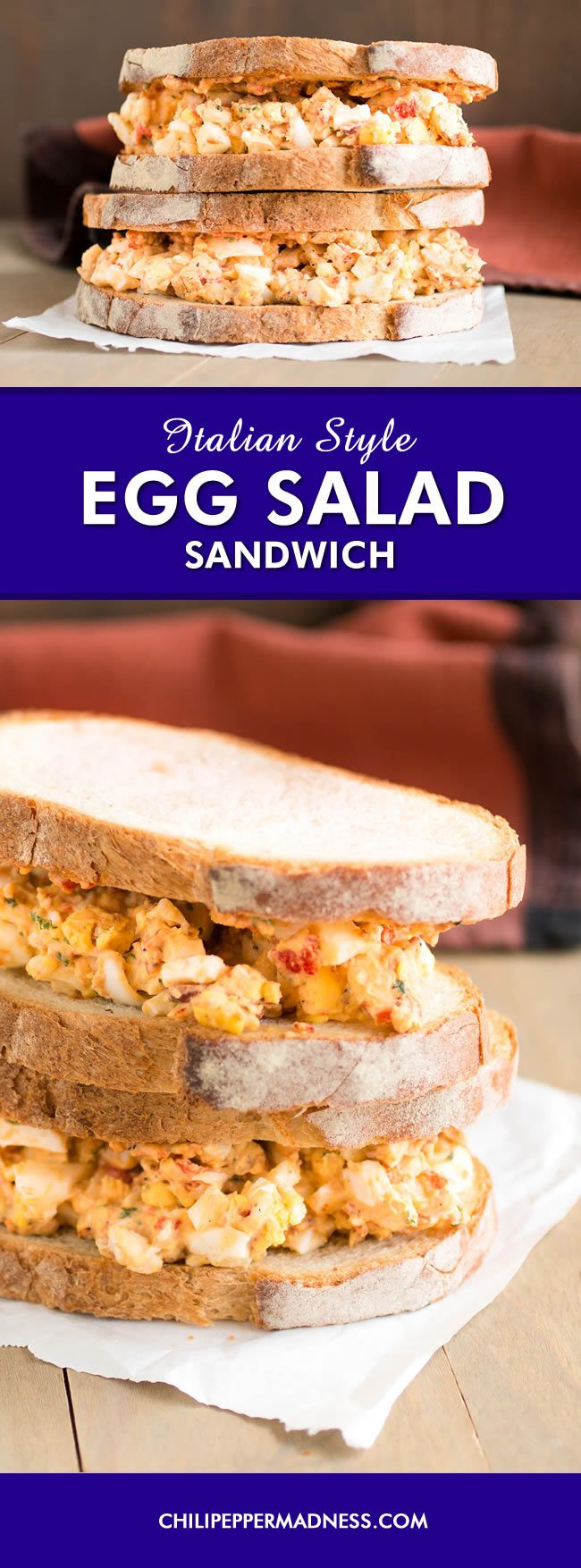 Italian Style Egg Salad Sandwich - An egg salad sandwich recipe with an Italian twist, with plenty of hard boiled eggs, mayo, Italian chili pepper, bacon, basil, lightly toasted almonds and more. It's a quick and easy lunch or dinner.