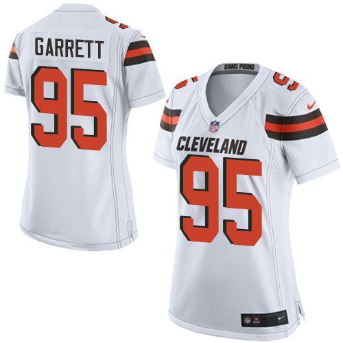 $24.99 Women's Nike Cleveland Browns #95 Myles Garrett Limited White NFL Jersey