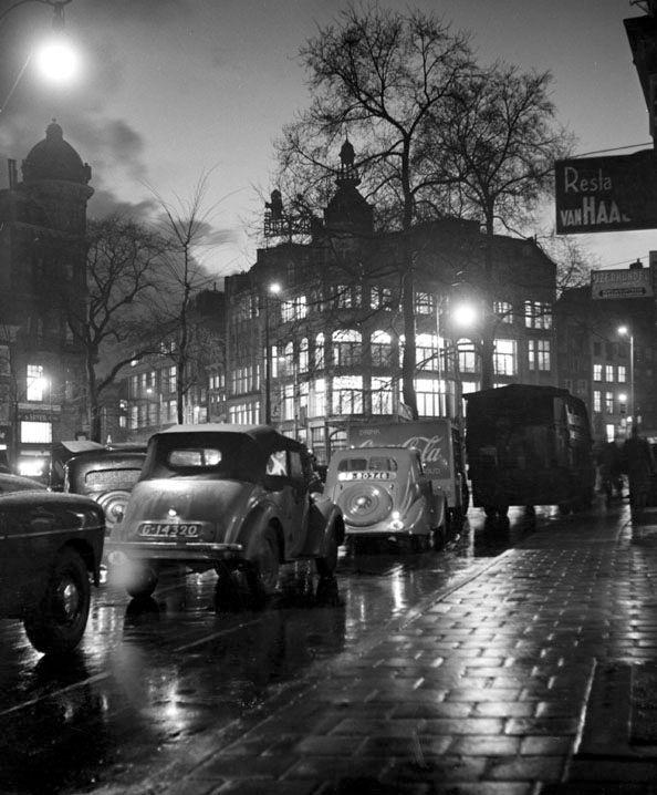 """Rain in town"", Amsterdam 1952. photo: Kees Scherer"