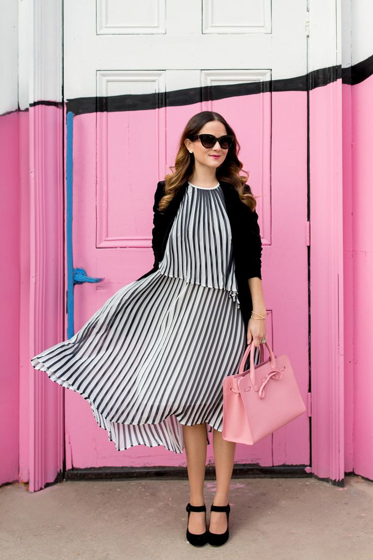 Black and White Pleated Dress via Style Charade