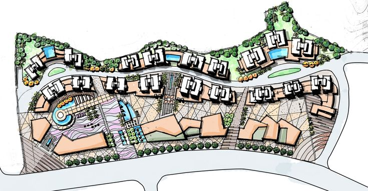 Contemporary landscape master plan, Residential & commercial complex landscape design, Landscape patterns, Street mall