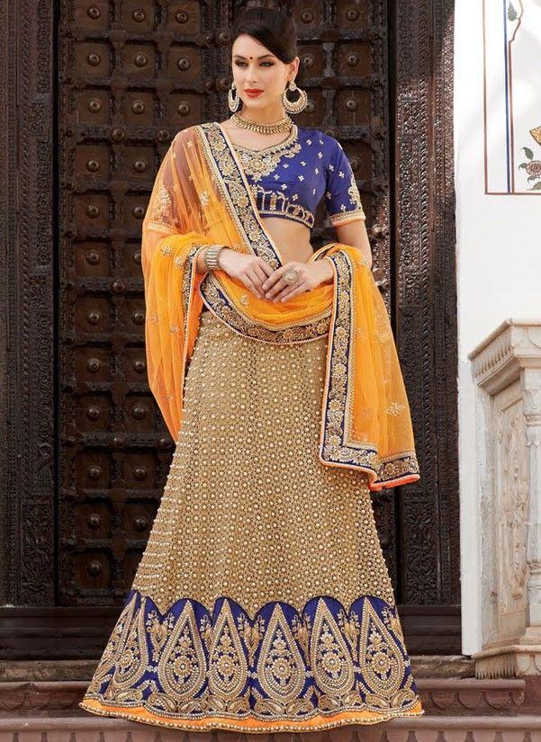 Buy #Orange and Brown #Lehenga #Saree @ http://www.indiandesignershop.com/product/orange-brown-lehenga-saree/