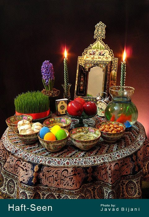 Haft-seen is the table settings for the Persian New Year. Each item is symbolic of elements in nature that nourish and sustain us.