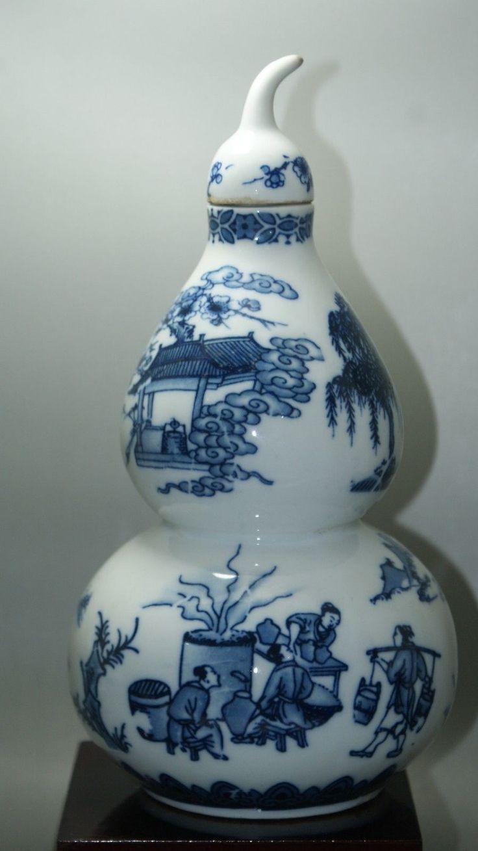 Прекрасный старый китай синий и белый фарфор ручная роспись старый кукурбит фарфоровая ваза коллекционные фарфоровые