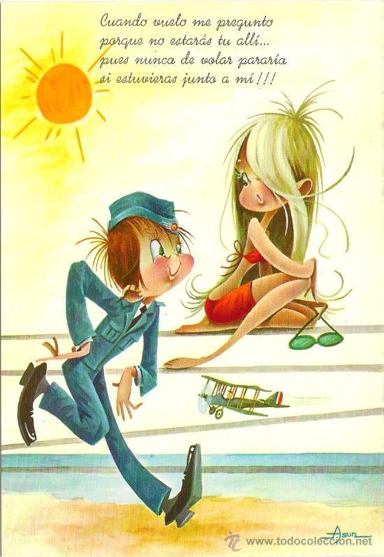 Interesante postal: divertido dibujo - soldado aviador con bonita señorita - C. y Z.