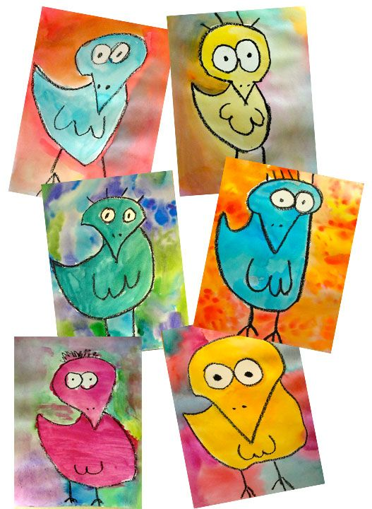 James Rizzi - birds -- use oil pastels & water colors.  Add creatively decorated border to add more personal flair