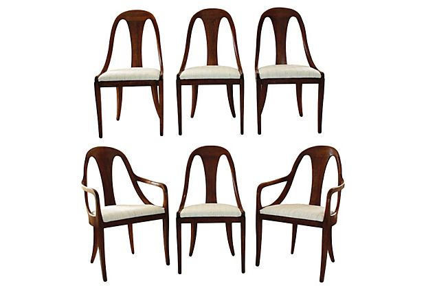 Midcentury Spoon-Back Dining Chairs, S/6 on OneKingsLane.com