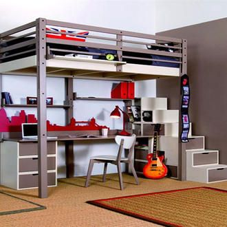 Fun space saver ideas for kids rooms. Loft bed with desk below. Cool Drawers in the stairs.
