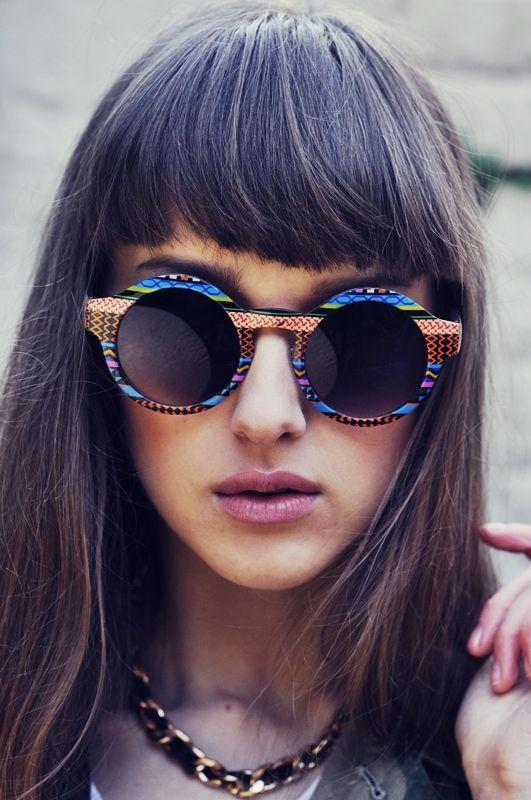 Retro Indie Hipster Fashion Round Pattern Sunglasses 8688