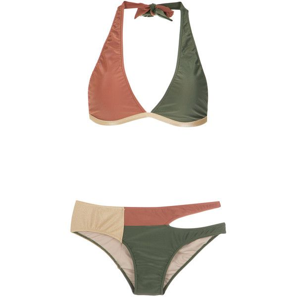 Adriana Degreas cut out velvet bikini set ($446) ❤ liked on Polyvore featuring swimwear, bikinis, bikini, bikini swimwear, halter cut out bikini, brown halter top, velvet bikini and cut-out bikinis