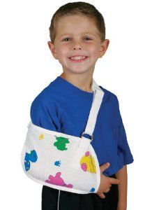 Medline Pediatric Print Arm Slings, XX Small by Medline. $9.75. Thumb loop inhibits sling migration. 1 inch 2.5 cm wide adjustable shoulder strap with foam pad ensures a proper fit while reducing neck and shoulder strain. Hook and loop closure for quick and easy application. 9 inch length,  5.5 inch height. Make your young patients smile with this poly or cotton blended fabric with fun pediatric print. 1 inch 2.5 cm wide adjustable shoulder strap with foam pad ensures a proper f...
